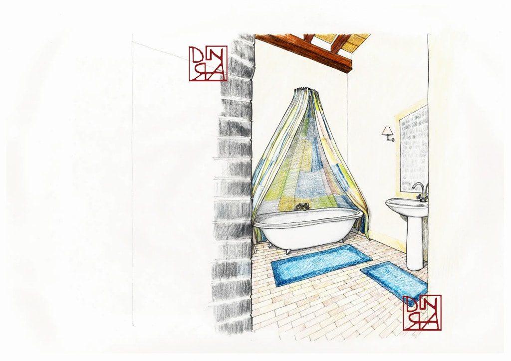 bozzetto tenda per vasca da bagno
