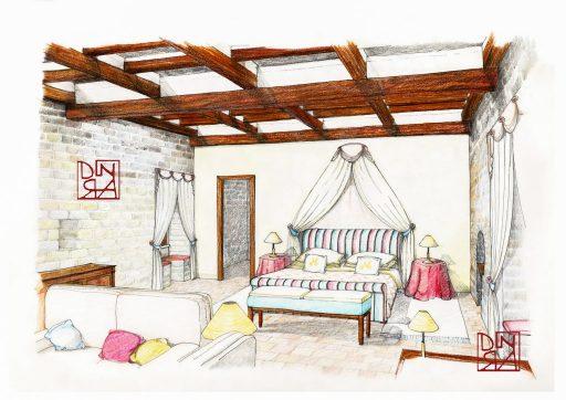 bozzetto complementi letto cuscini e comodini
